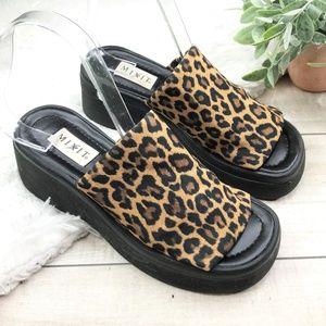 VINTAGE Cheetah Print Black Wedge Slip On Sandals